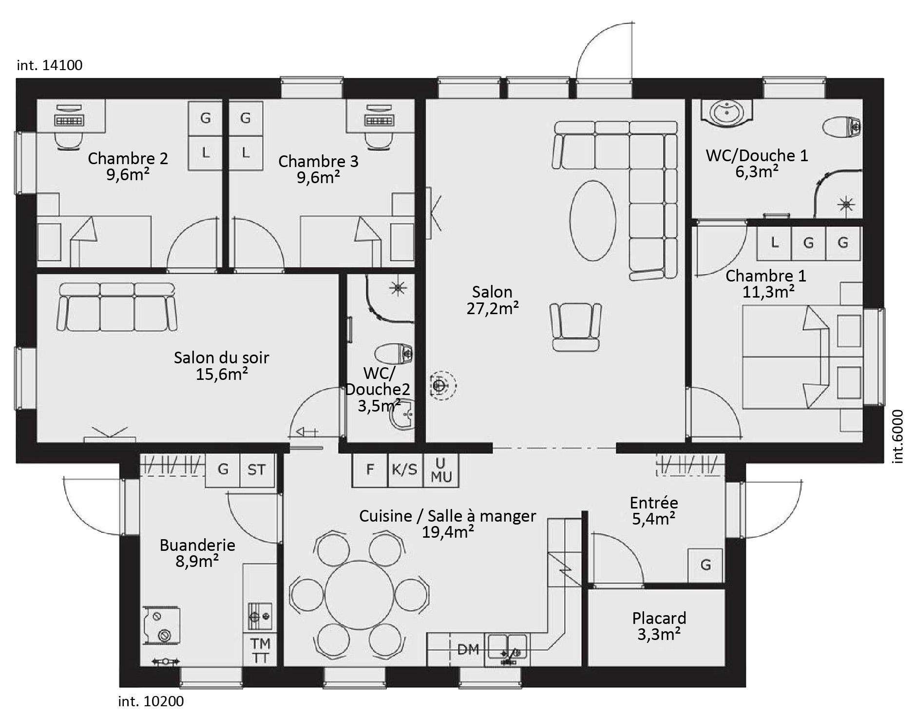 Plan maison ossature bois plain pied plan1jpg cration - Plan maison en bois plain pied ...