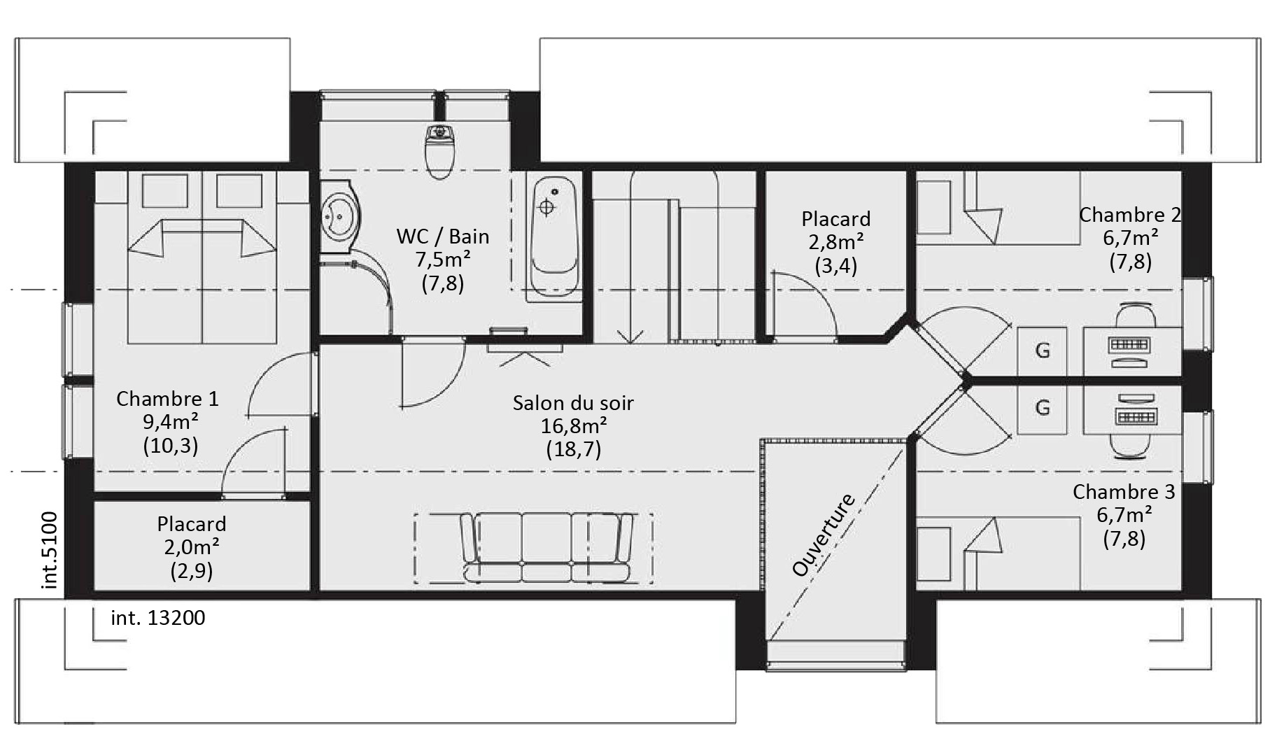 Beautiful plan maison ossature bois sudoise tage bbc et for Plans de maison