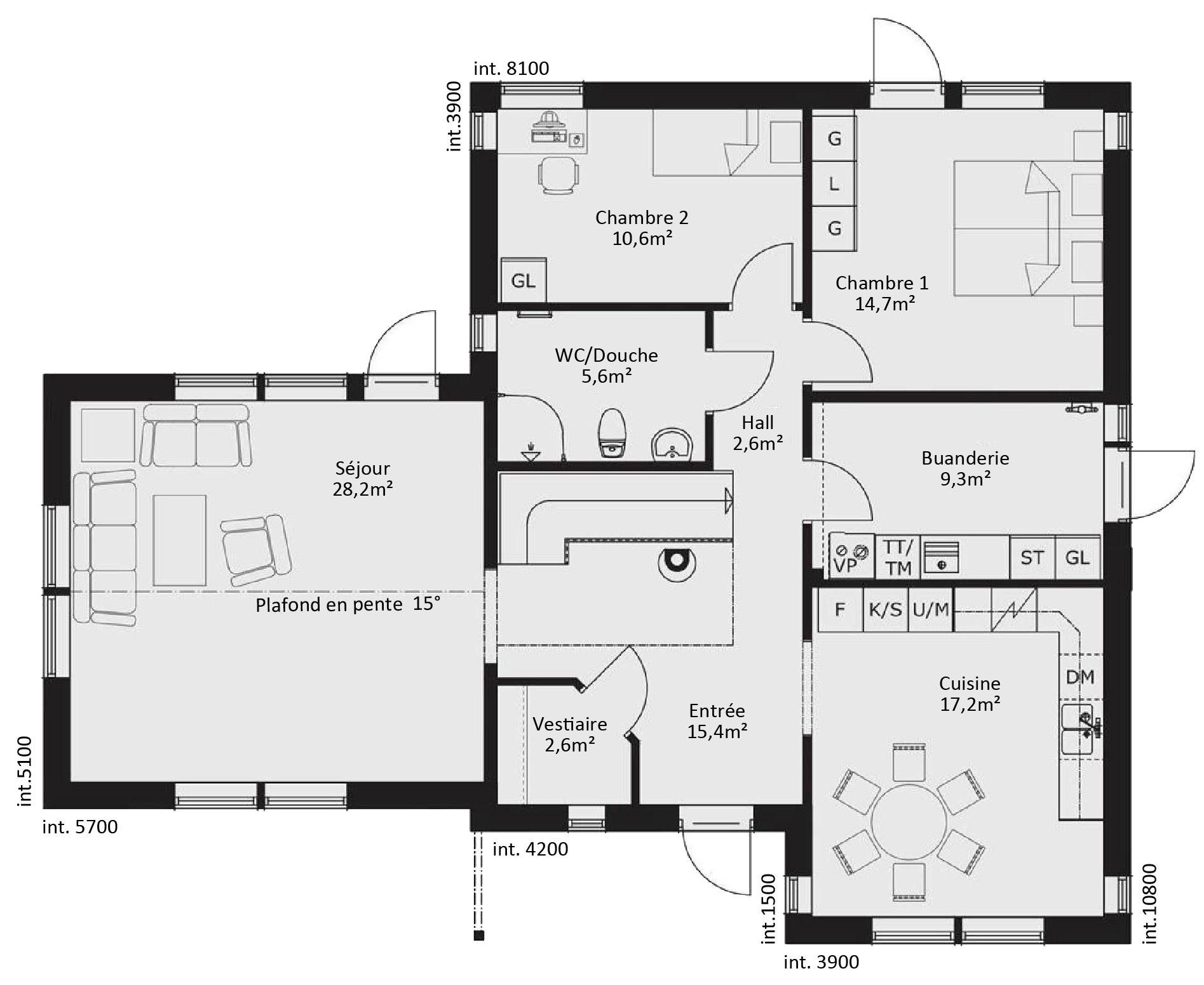 #201F20 Catalogue Plain Pied : Scandinavia 13 3021 plan maison suite parentale rdc 1895x1552 px @ aertt.com