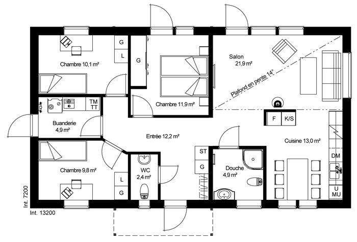 Modele maison ossature bois plain pied ps61 jornalagora for Construire online com plan de maison catalogue
