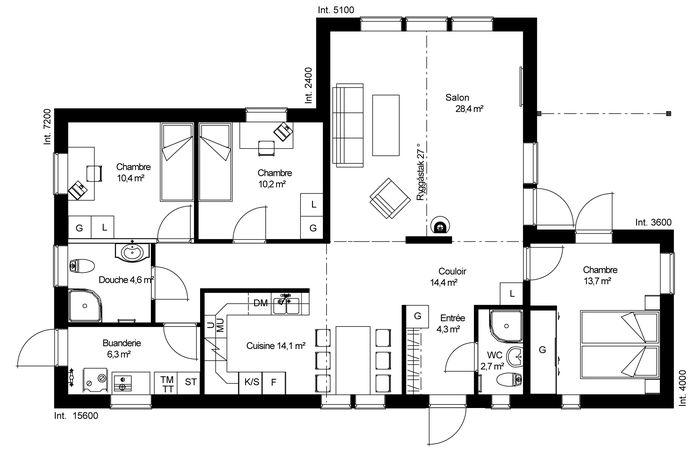 plan maison u architecte 113