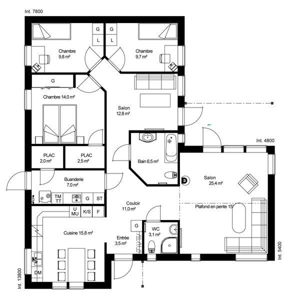 Plan maison ossature bois plain pied plan maison meubl for Catalogue plan maison