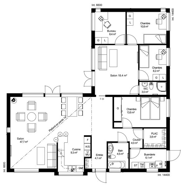 Plan de maison en bois plein pied gratuit for Plan maison contemporaine 100m2