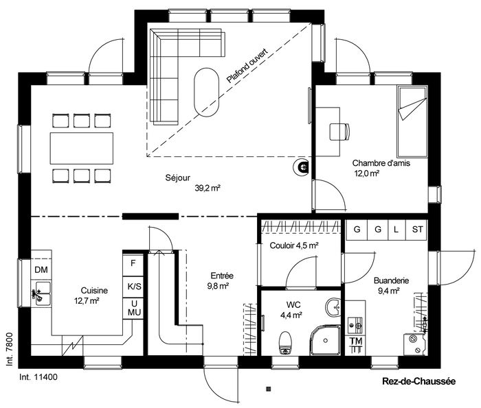 Plan maison plain pied 3 chambres 1 bureau plan maison for Plan maison 3 chambres 1 bureau